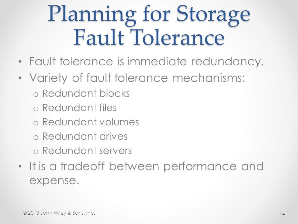 Planning for Storage Fault Tolerance