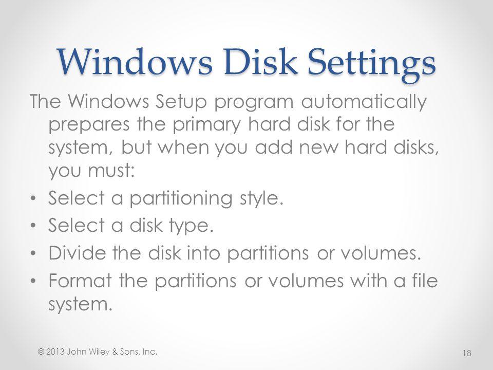 Windows Disk Settings