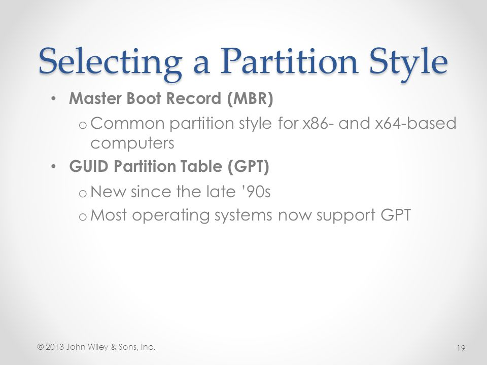 Selecting a Partition Style