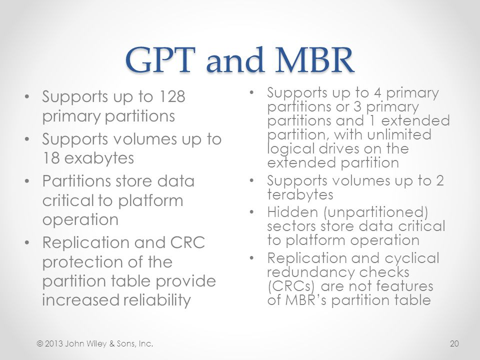 GPT and MBR Supports up to 128 primary partitions