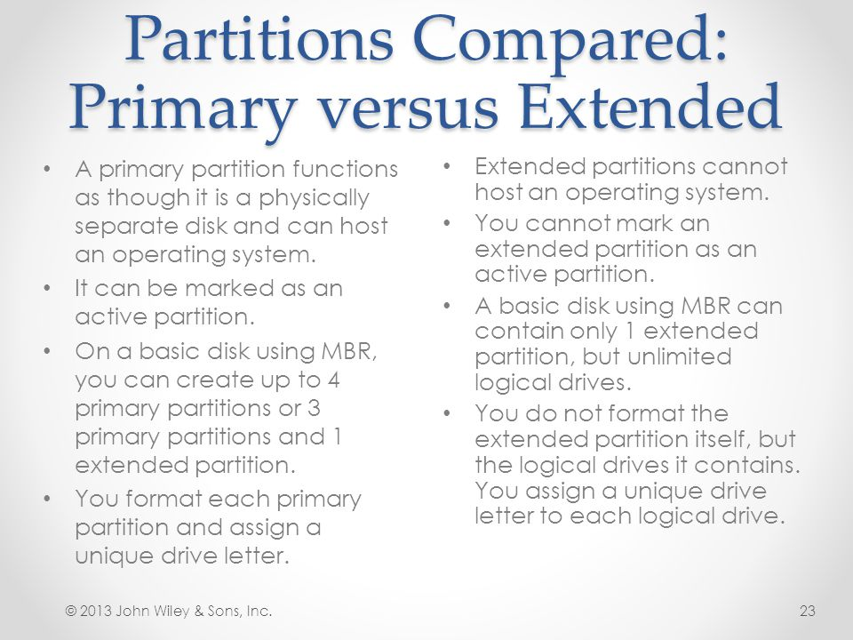 Partitions Compared: Primary versus Extended
