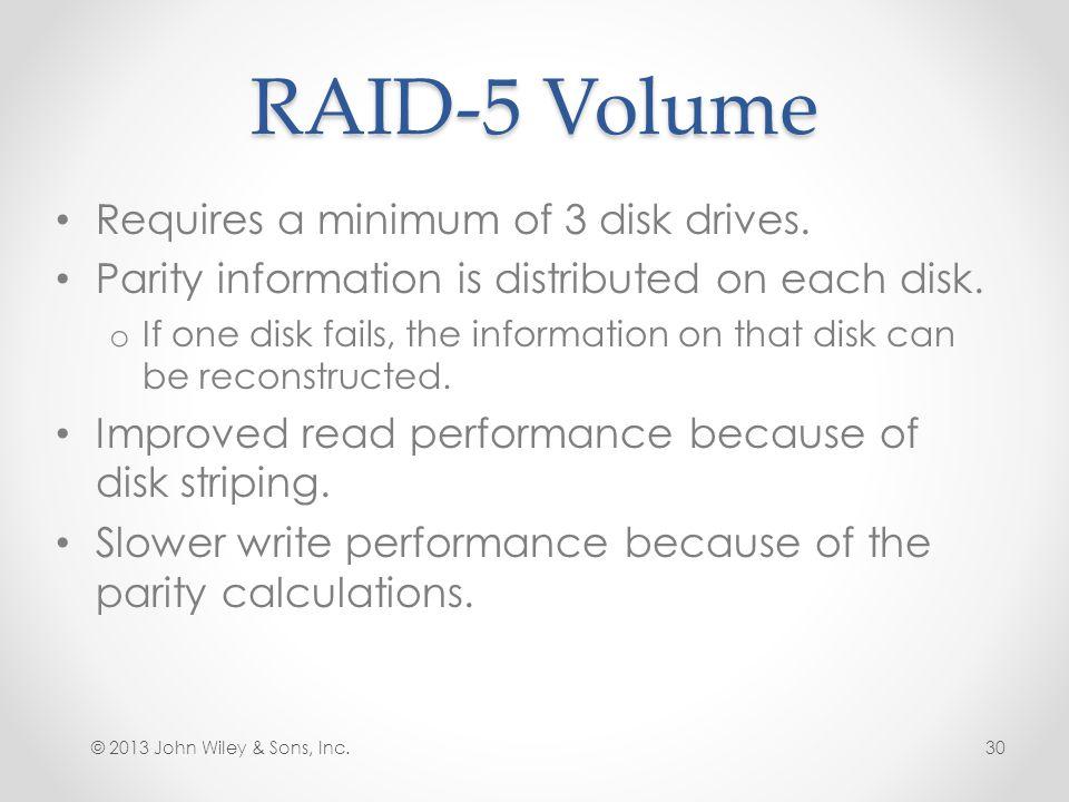 RAID-5 Volume Requires a minimum of 3 disk drives.