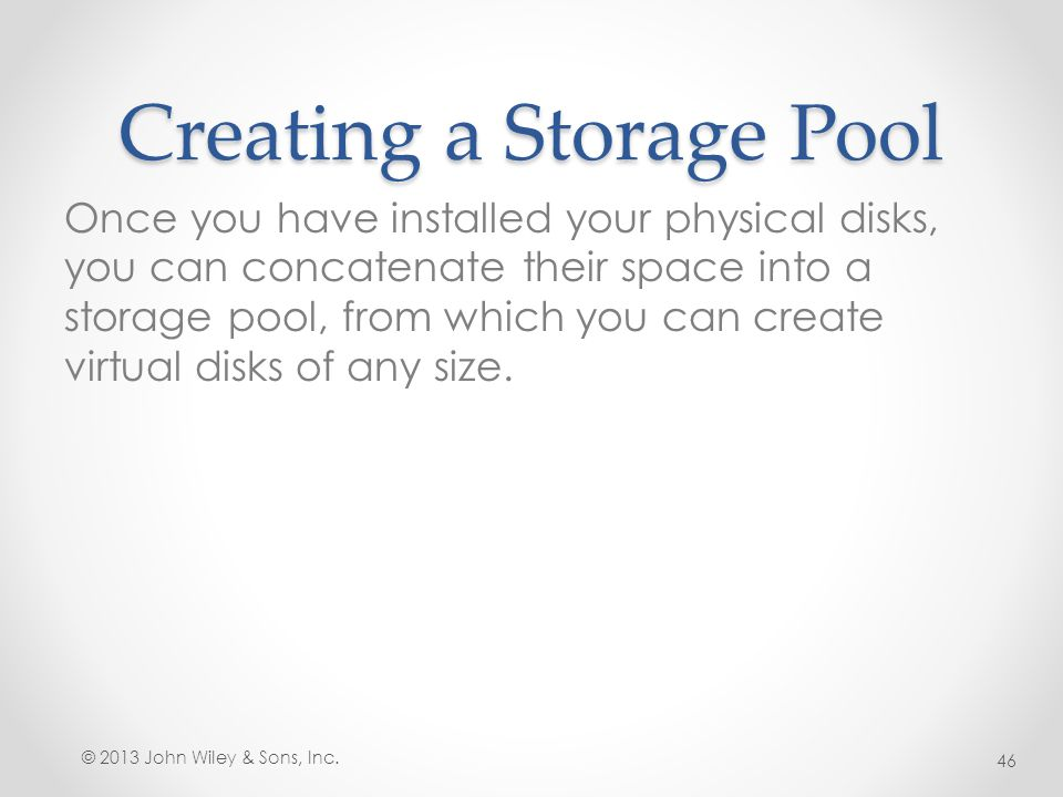 Creating a Storage Pool
