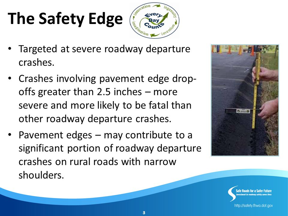The Safety Edge Targeted at severe roadway departure crashes.