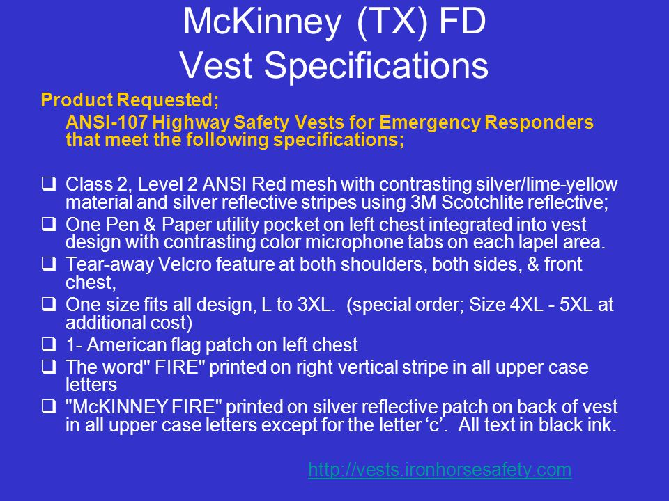 McKinney (TX) FD Vest Specifications