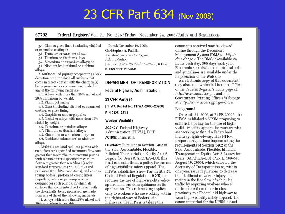 23 CFR Part 634 (Nov 2008)
