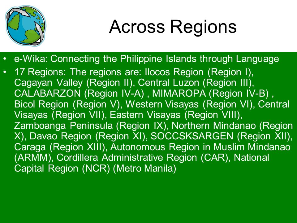 Across Regions e-Wika: Connecting the Philippine Islands through Language.
