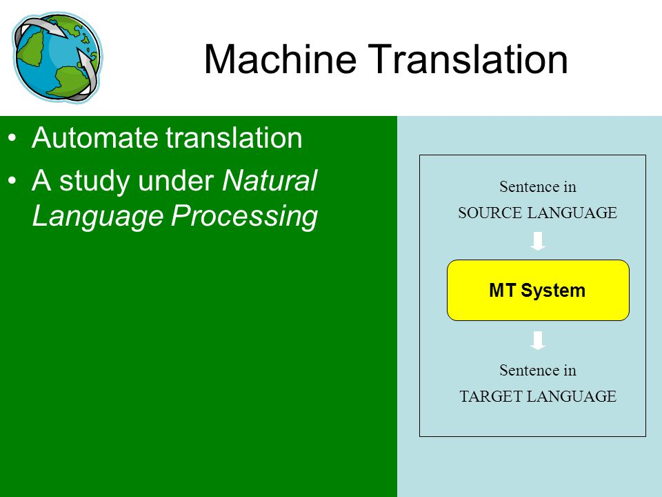Machine Translation Automate translation