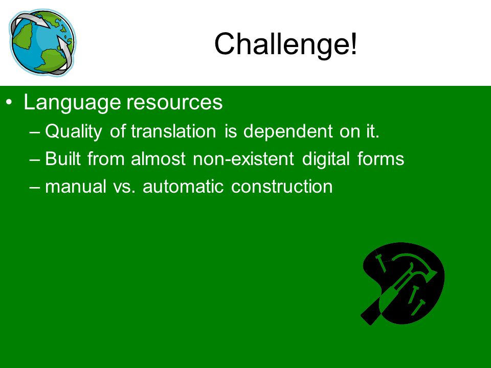 Challenge! Language resources