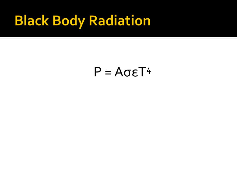 Black Body Radiation P = AσεT4
