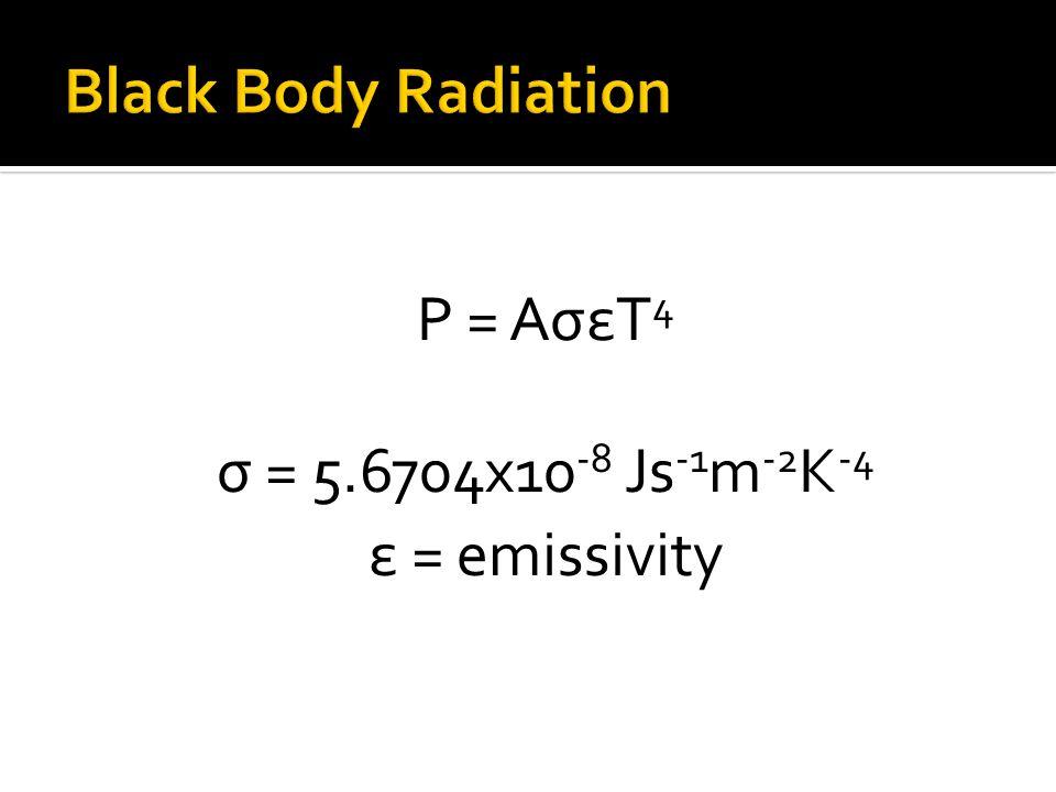 Black Body Radiation P = AσεT4 σ = 5.6704x10-8 Js-1m-2K-4
