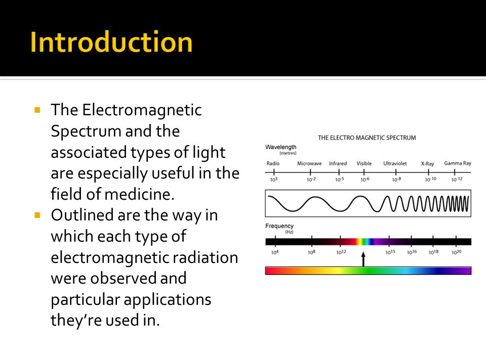 Introduction The Electromagnetic Spectrum and the associated types of light are especially useful in the field of medicine.