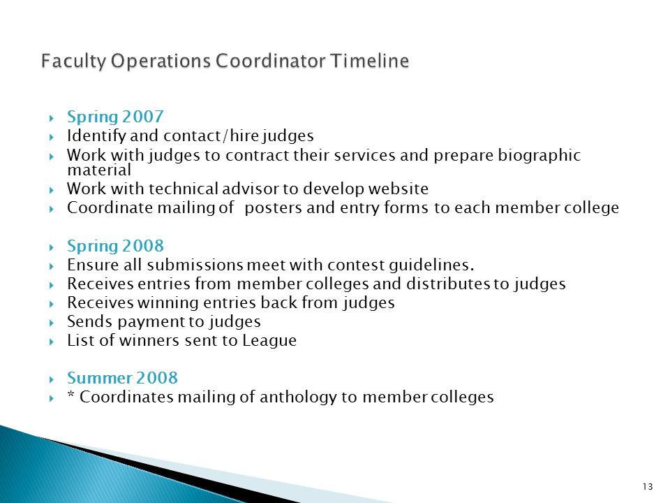 Faculty Operations Coordinator Timeline