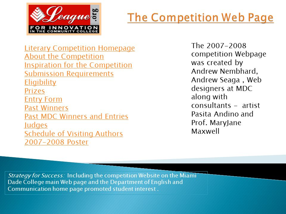 The Competition Web Page