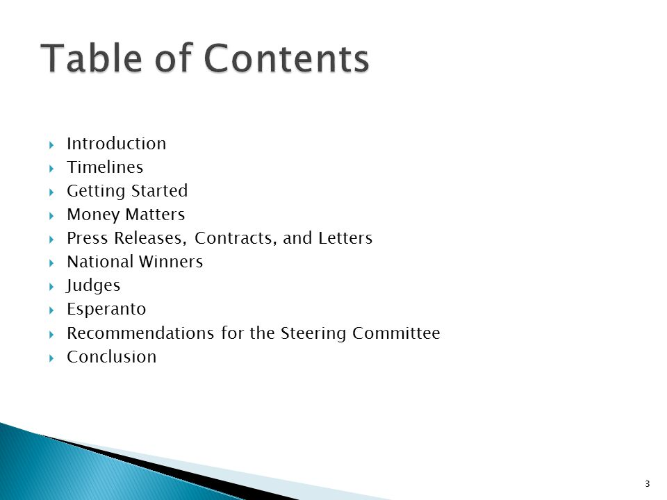 Table of Contents Introduction Timelines Getting Started Money Matters
