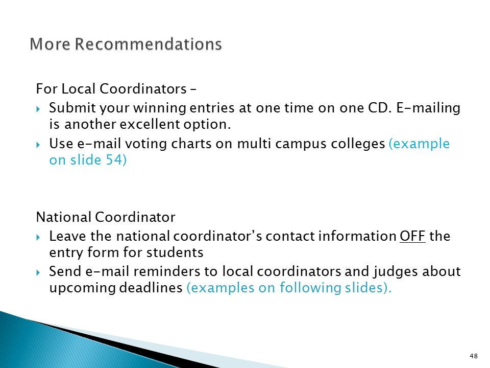 More Recommendations For Local Coordinators –