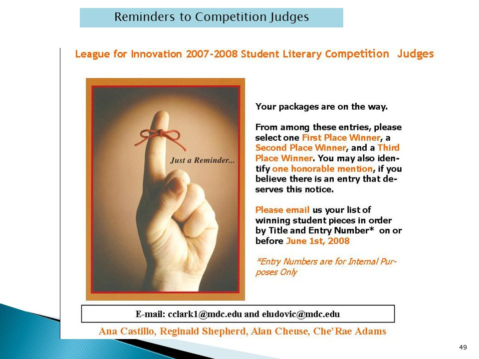 Reminders to Competition Judges