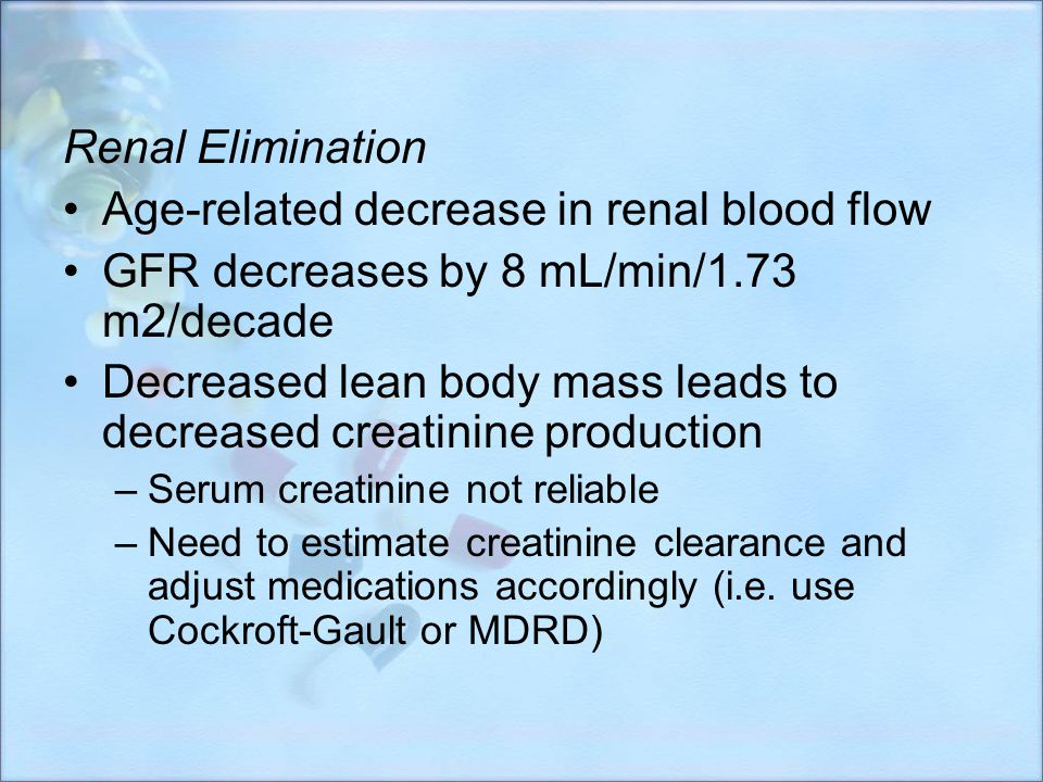 Age-related decrease in renal blood flow
