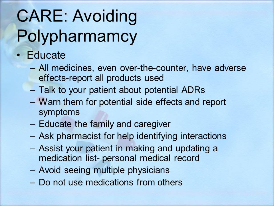 CARE: Avoiding Polypharmamcy