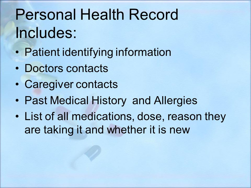 Personal Health Record Includes: