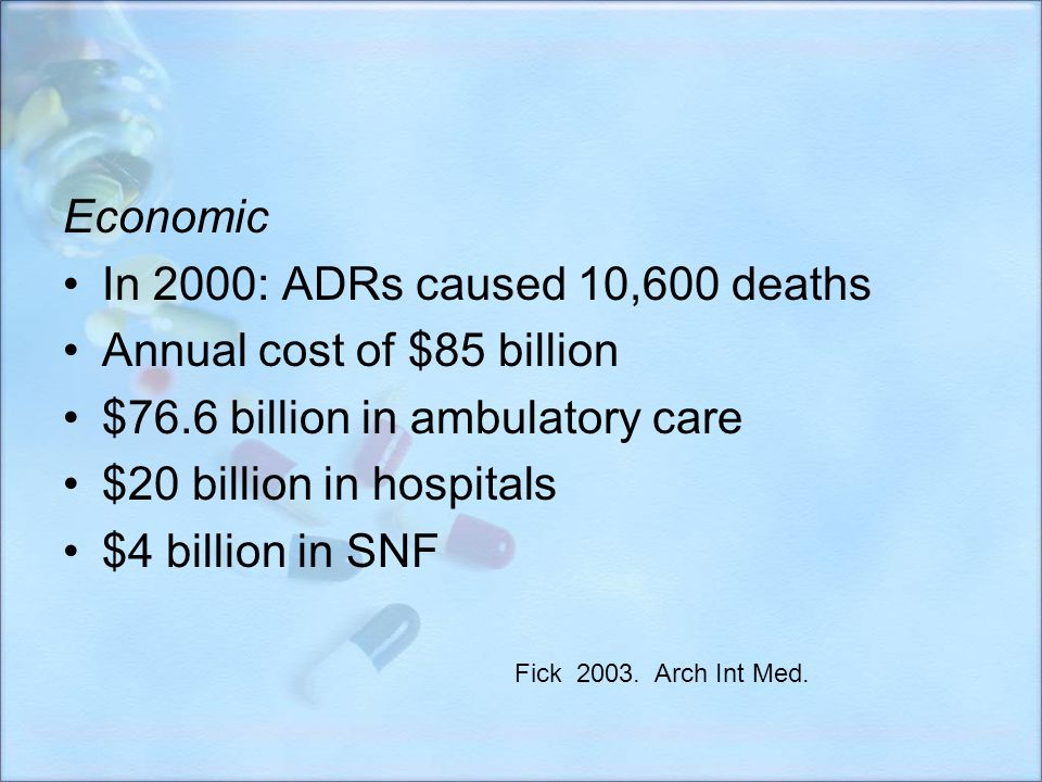 Annual cost of $85 billion $76.6 billion in ambulatory care