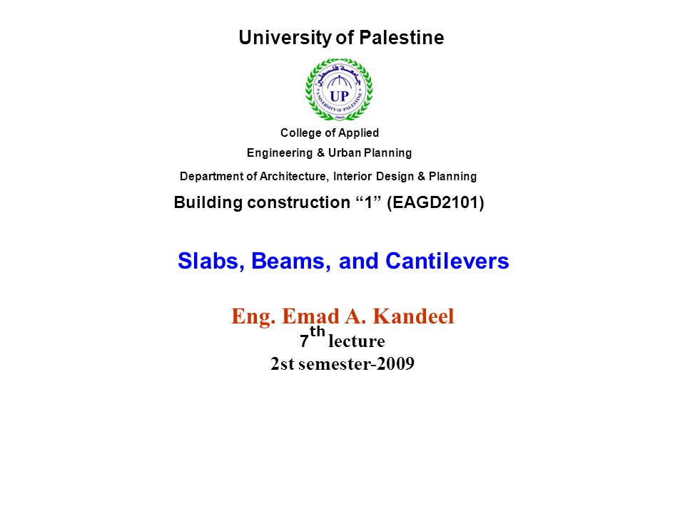 Slabs, Beams, and Cantilevers Eng. Emad A. Kandeel