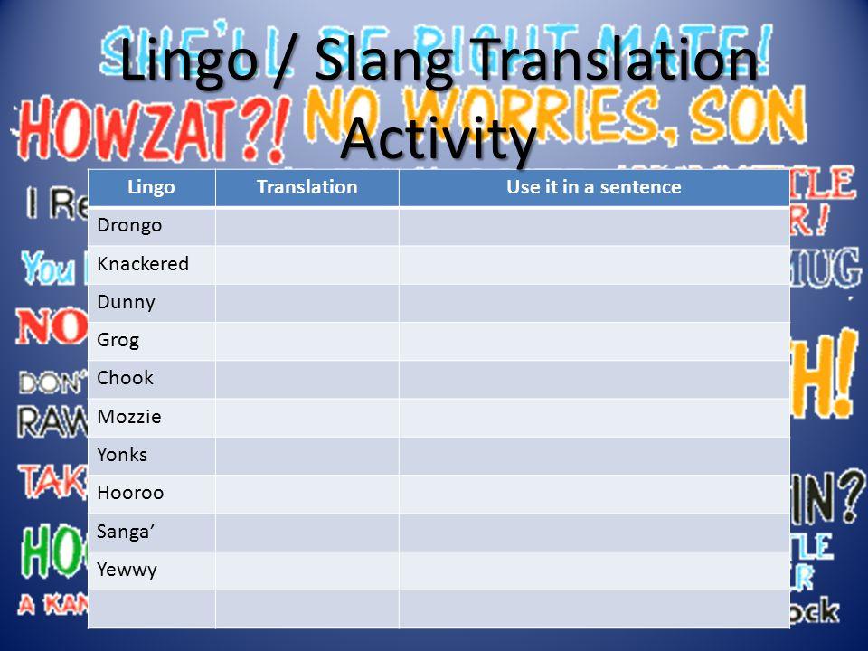 Lingo / Slang Translation Activity