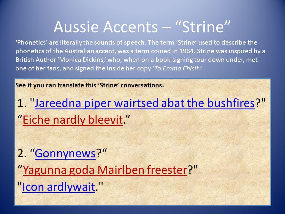 Aussie Accents – Strine