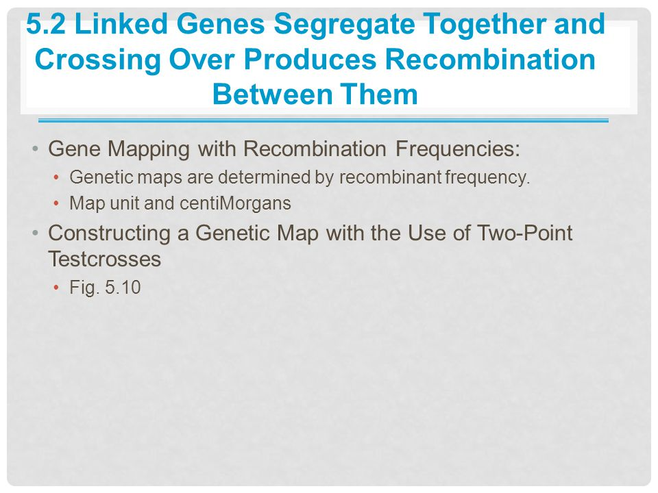 5.2 Linked Genes Segregate Together and Crossing Over Produces Recombination Between Them