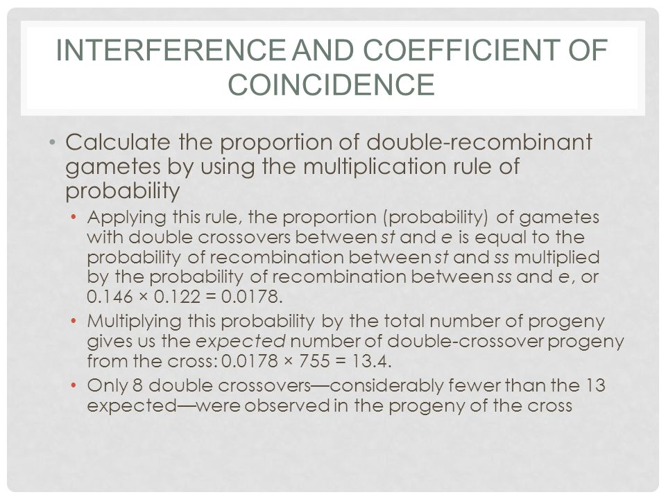 Interference and coefficient of coincidence