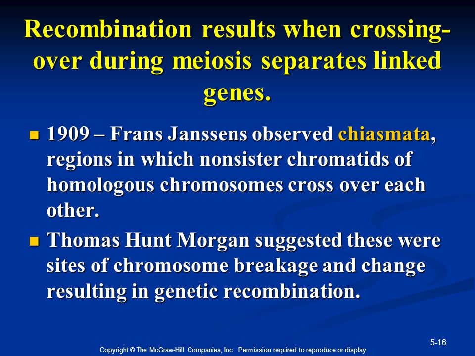 Recombination results when crossing-over during meiosis separates linked genes.