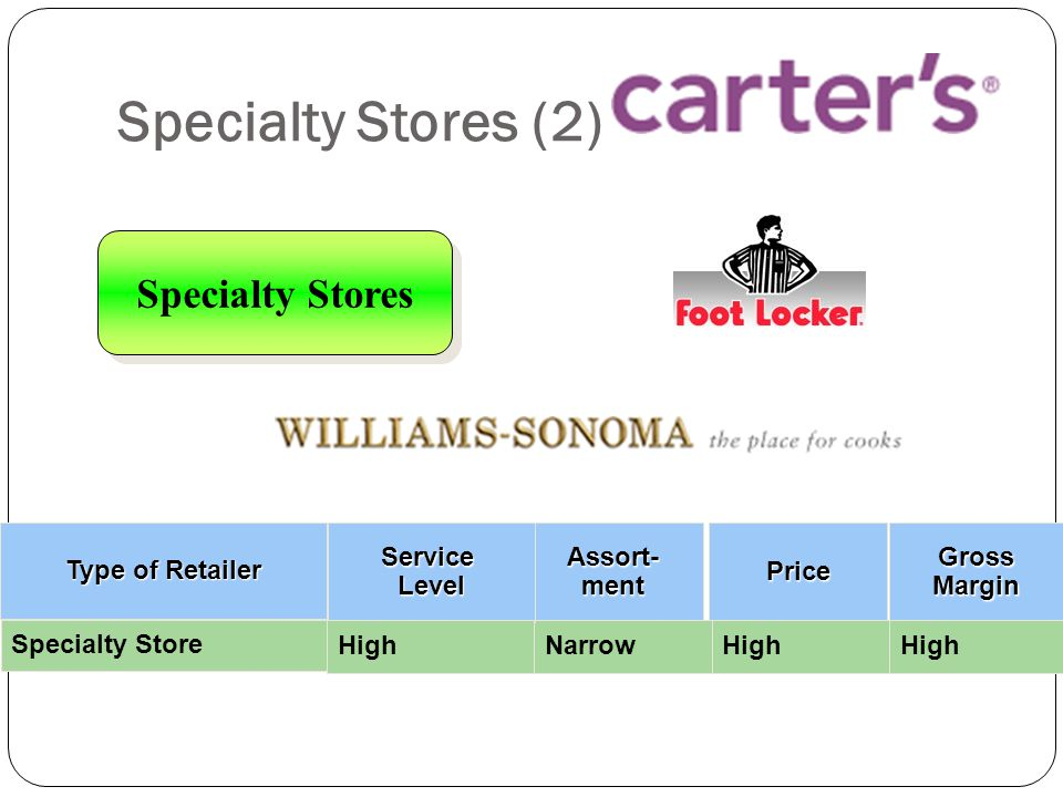 Specialty Stores (2) Specialty Stores Assort- ment Price Gross Margin