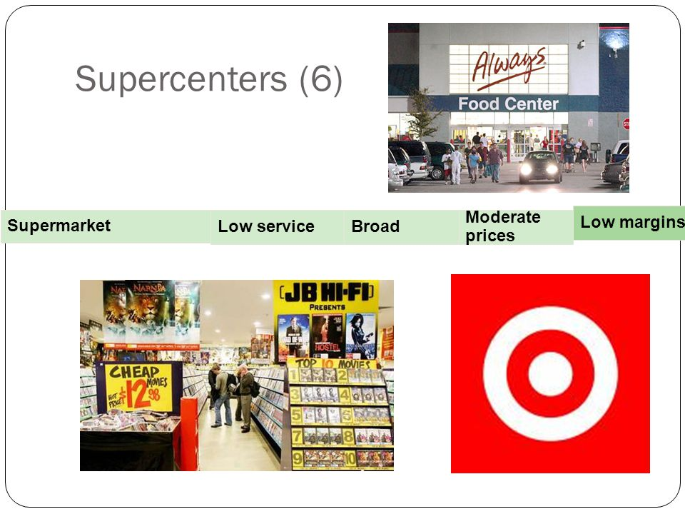 Supercenters (6) Supermarket Low service Broad Moderate prices