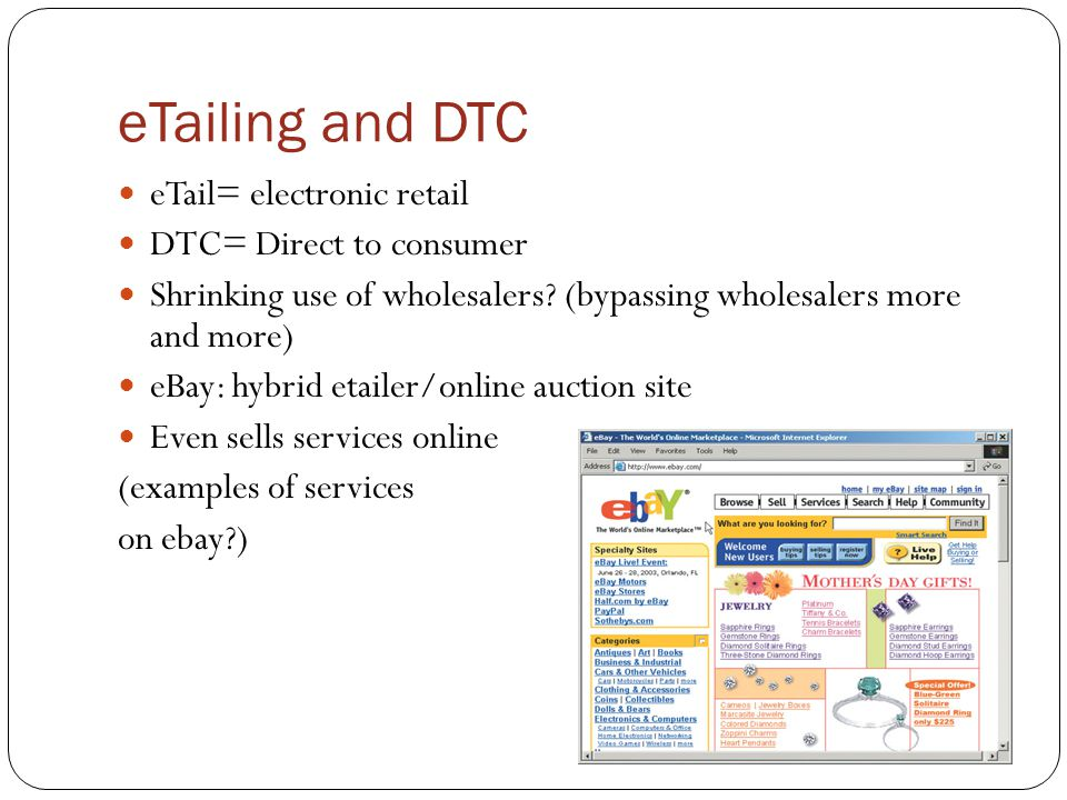 eTailing and DTC eTail= electronic retail DTC= Direct to consumer
