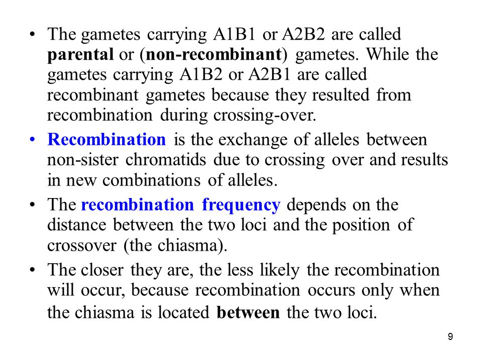 The gametes carrying A1B1 or A2B2 are called parental or (non-recombinant) gametes. While the gametes carrying A1B2 or A2B1 are called recombinant gametes because they resulted from recombination during crossing-over.
