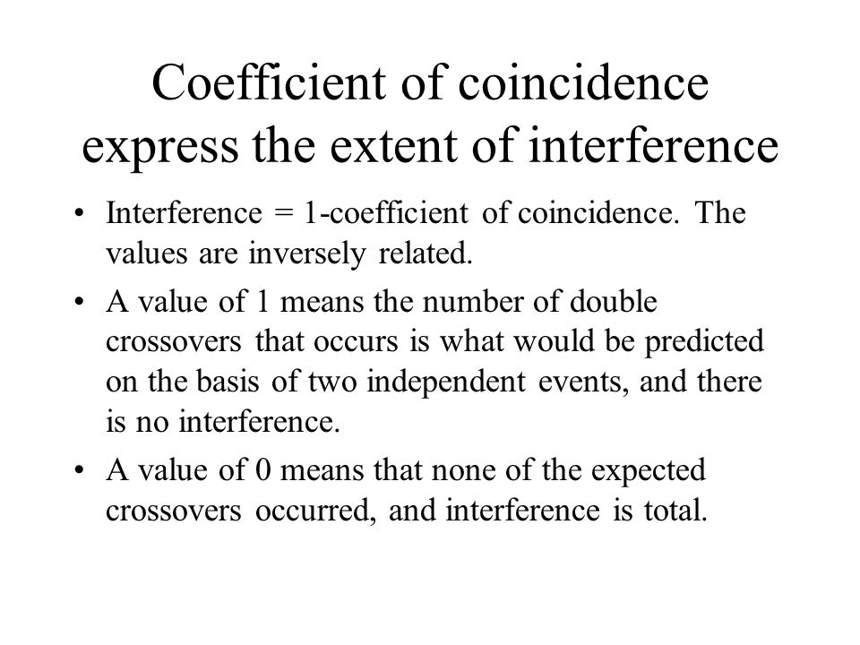 Coefficient of coincidence express the extent of interference