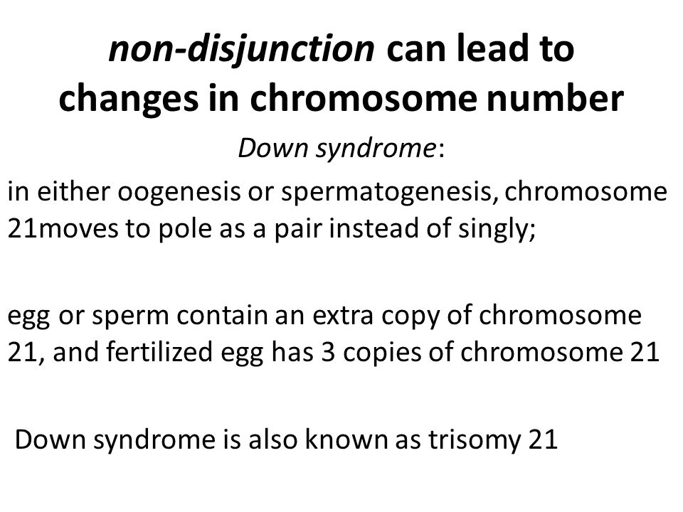 non-disjunction can lead to changes in chromosome number