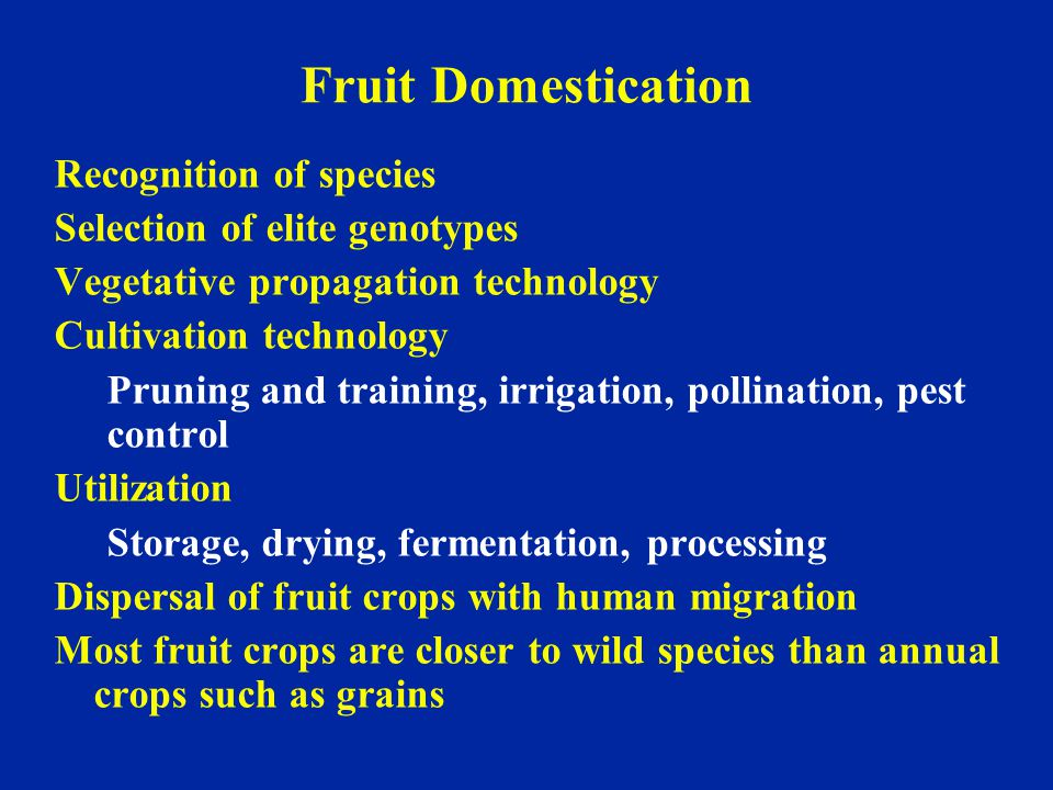 Fruit Domestication Recognition of species