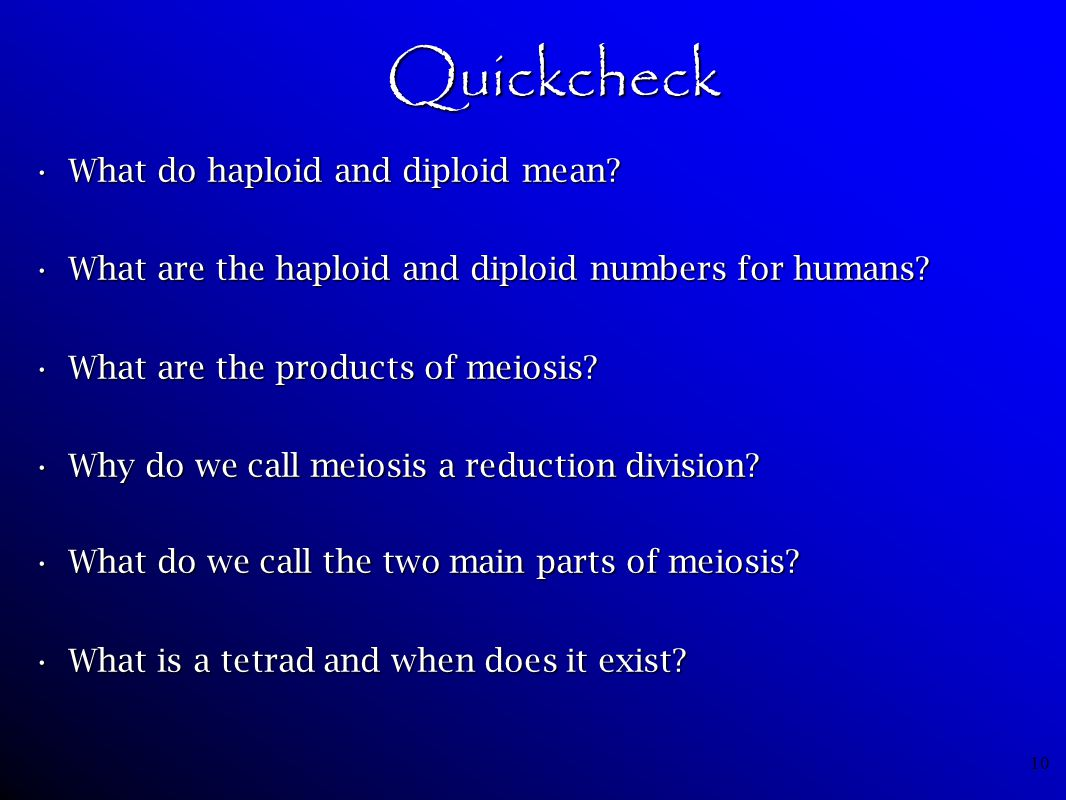 Quickcheck What do haploid and diploid mean