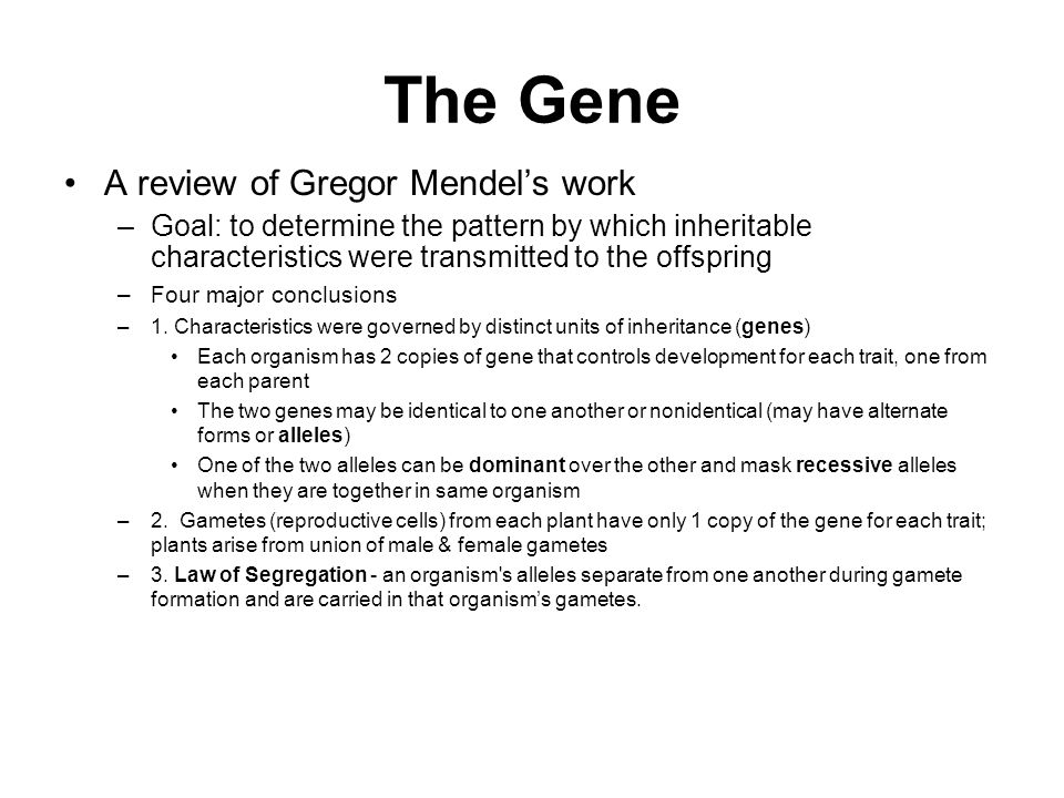 The Gene A review of Gregor Mendel's work