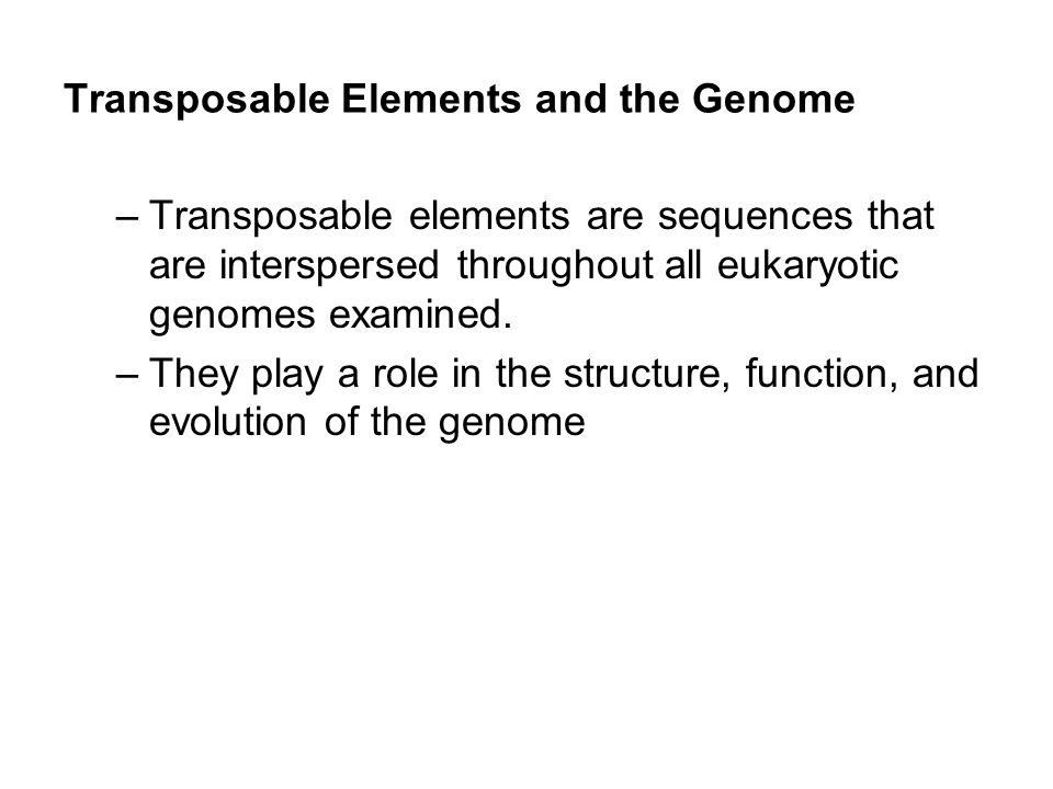 Transposable Elements and the Genome