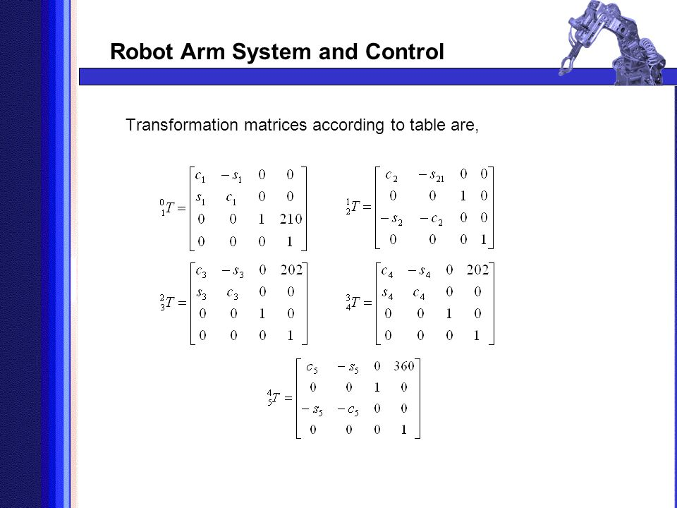 Transformation matrices according to table are,