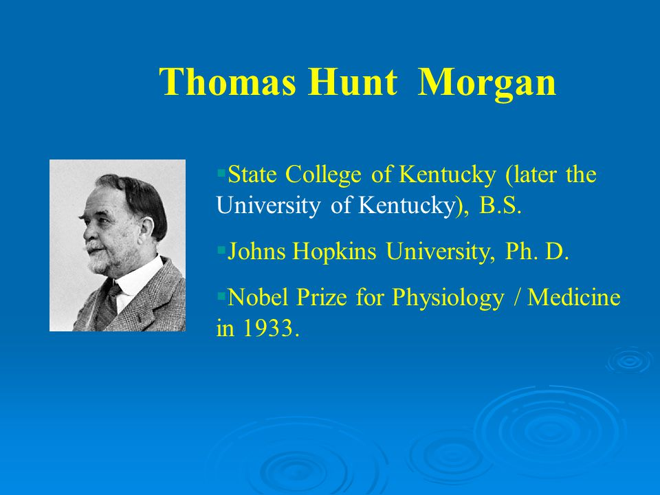 Thomas Hunt Morgan State College of Kentucky (later the University of Kentucky), B.S. Johns Hopkins University, Ph. D.