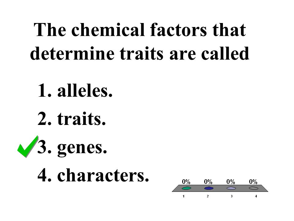 The chemical factors that determine traits are called