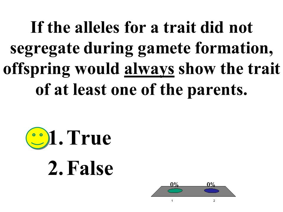 If the alleles for a trait did not segregate during gamete formation, offspring would always show the trait of at least one of the parents.