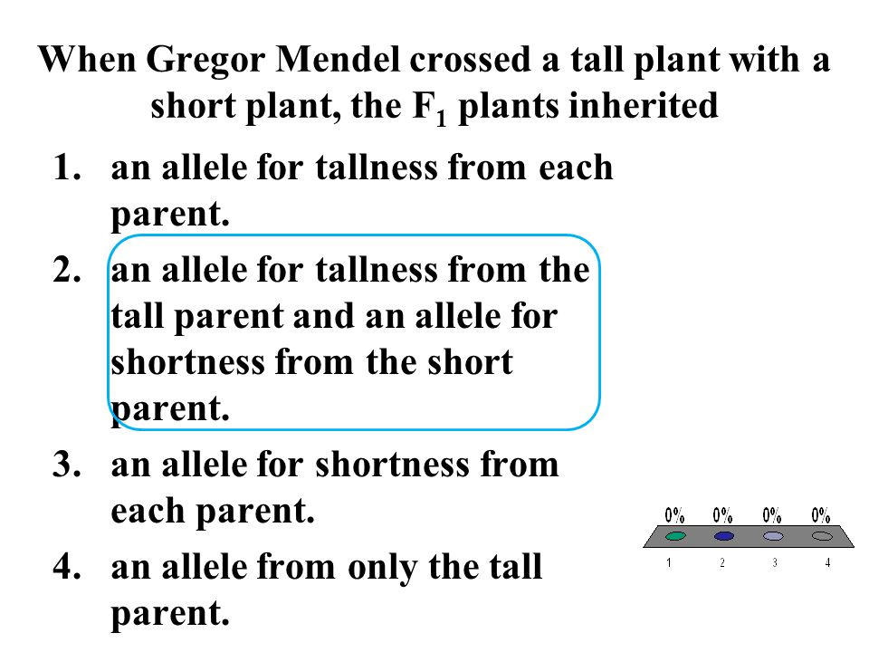 When Gregor Mendel crossed a tall plant with a short plant, the F1 plants inherited
