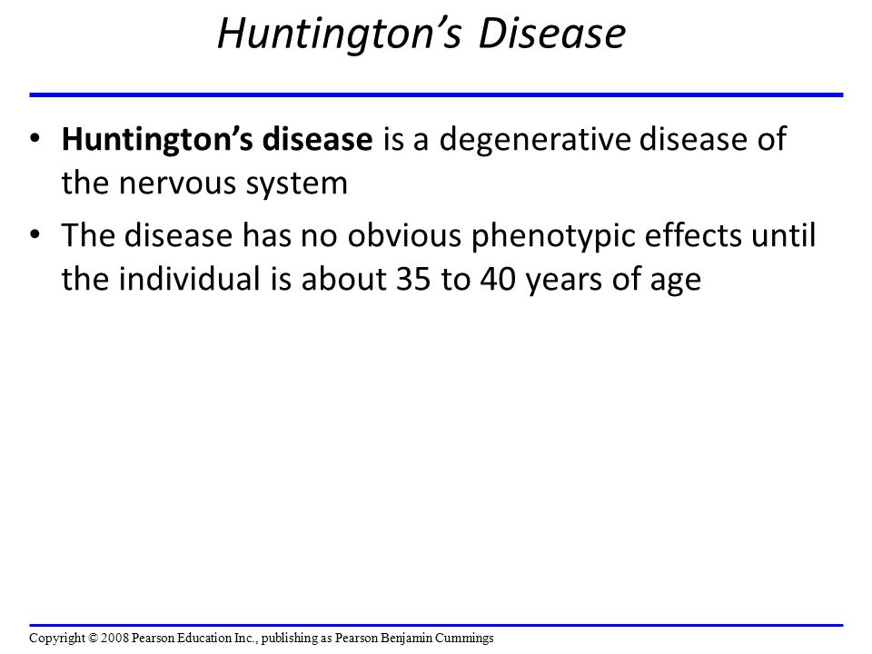 Huntington's Disease Huntington's disease is a degenerative disease of the nervous system.