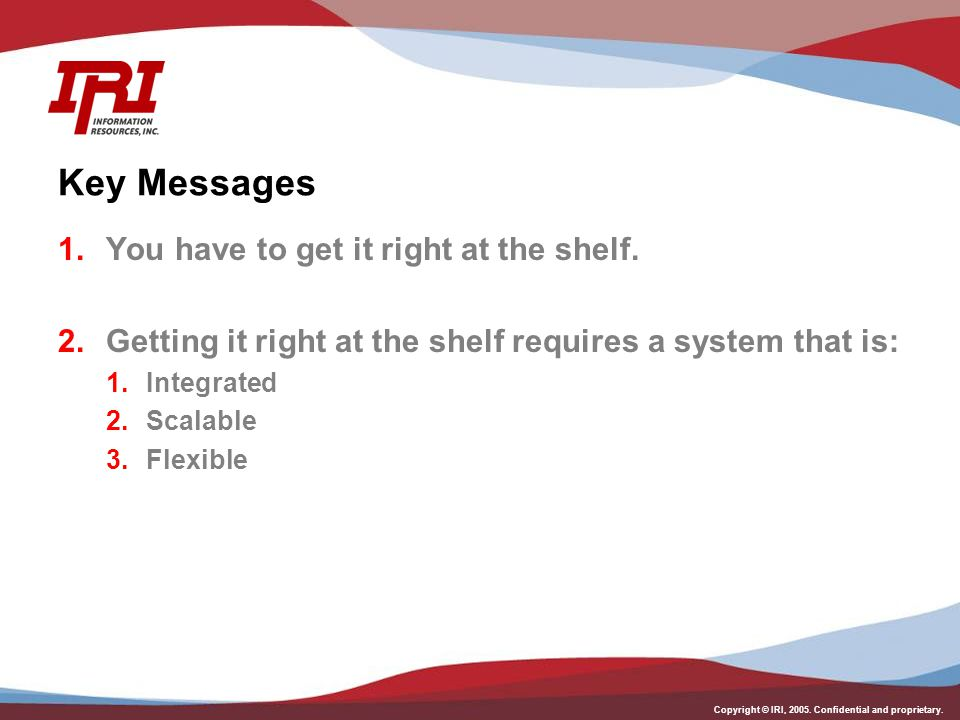 Key Messages You have to get it right at the shelf.