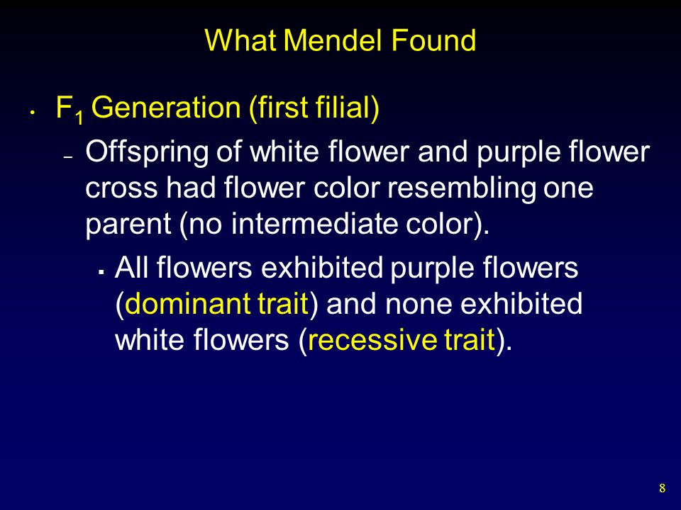 What Mendel Found F1 Generation (first filial)