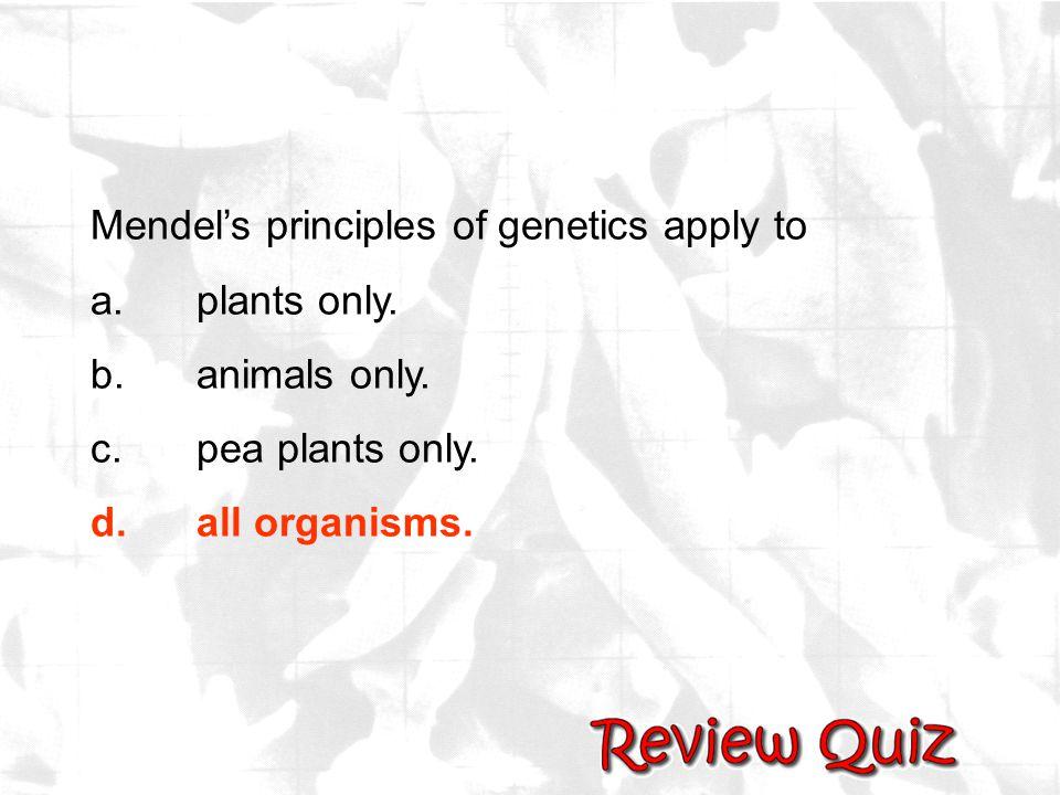 Mendel's principles of genetics apply to